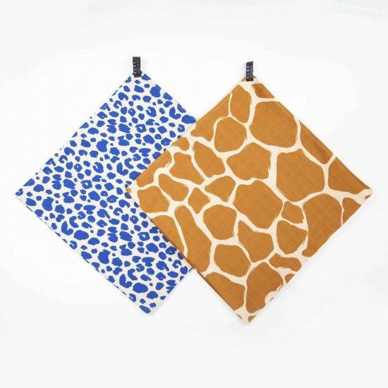 Látkové plenky - Mušelínové plenky velké WILD COLOR Leopard&Giraffe, 2 ks - KLRK-SWDLR-CLRLG-W