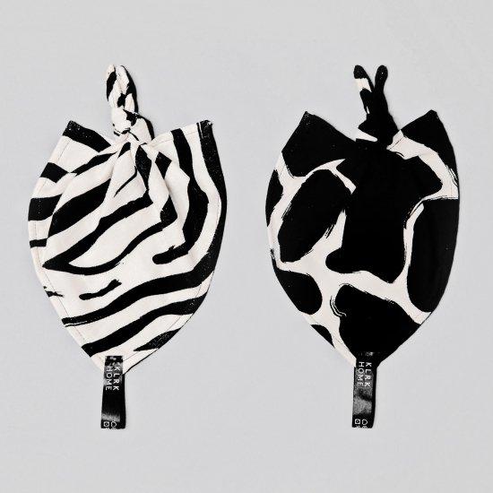 DOPLŇKY - Mazlicí dečky s uzlem WILD B&W Zebra&Giraffe, 2 ks - KLRK-ND-BWZG-W