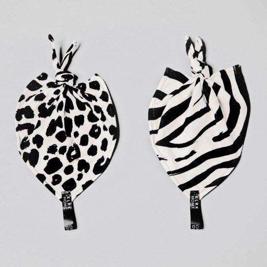 DOPLŇKY - Mazlicí dečky s uzlem WILD B&W Leopard&Zebra, 2 ks - KLRK-ND-BWLZ-W