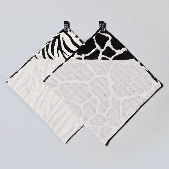 TEXTIL - Mušelínové osušky s kapucí WILD B&W Zebra&Giraffe, 2 ks - KLRK-TWL-BWZG-W