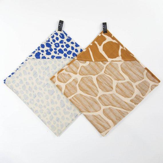 TEXTIL - Mušelínové osušky s kapucí WILD COLOR Leopard&Giraffe, 2 ks - KLRK-TWL-CLRLG-W