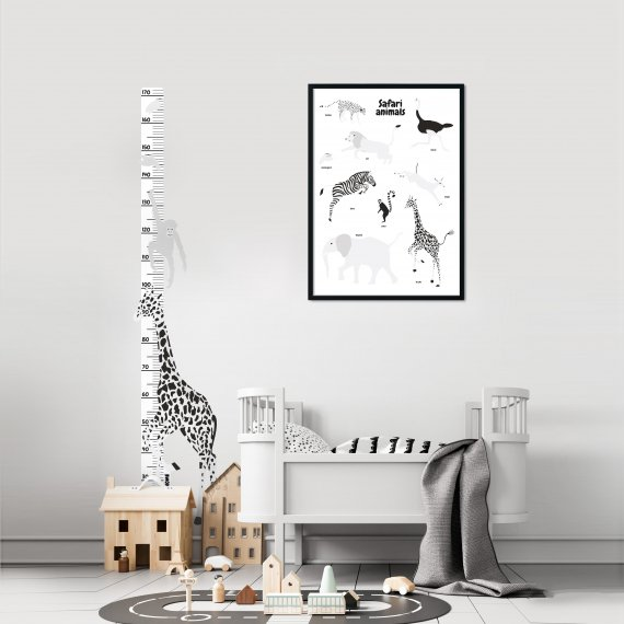 DEKORACE - Samolepka na zeď: Rostoucí metr Žirafa BW Wild, 1 ks - KLRK-RSTCMTR-ZRF