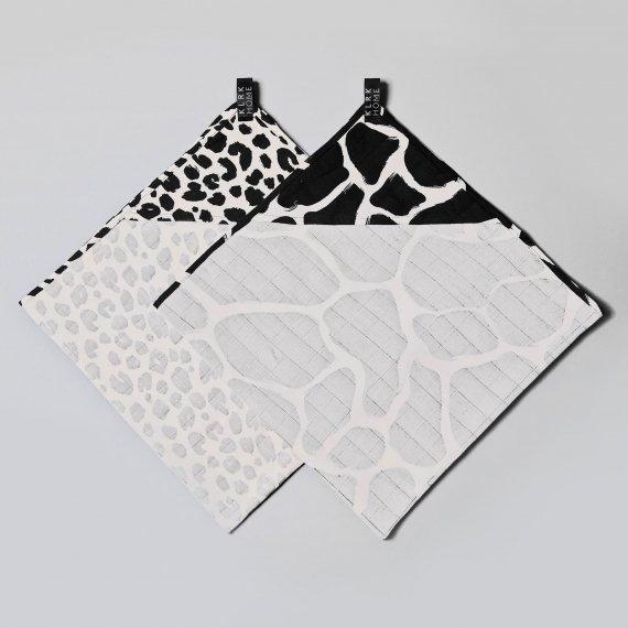 TEXTIL - Mušelínové osušky skapucí WILD B&W Leopard&Giraffe, 2 ks - KLRK-TWL-BWLG-W