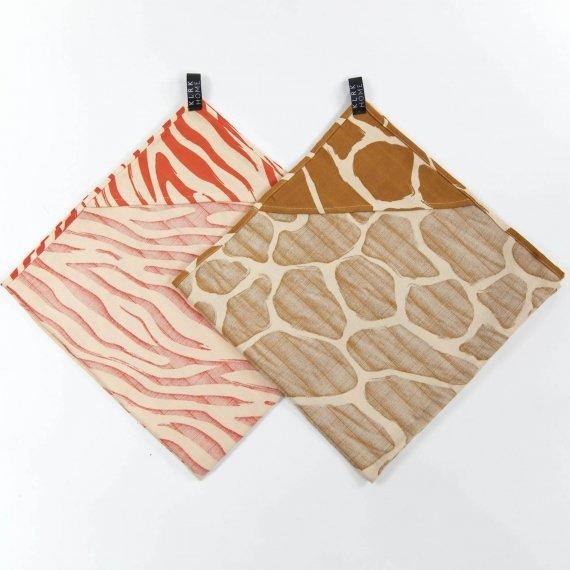 TEXTIL - Mušelínové osušky s kapucí WILD COLOR Zebra&Giraffe, 2 ks - KLRK-TWL-CLRZG-W