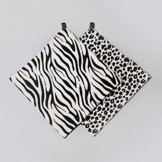 Látkové plenky - Mušelínové plenky velké WILD B&W Leopard&Zebra, 2 ks - KLRK-SWDLR-BWLZ-W
