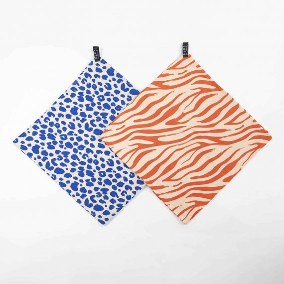 Látkové plenky - Mušelínové plenky velké WILD COLOR Leopard&Zebra, 2 ks - KLRK-SWDLR-CLRLZ-W