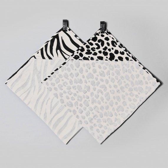 TEXTIL - Mušelínové osušky s kapucí WILD B&W Leopard&Zebra, 2 ks - KLRK-TWL-BWLZ-W