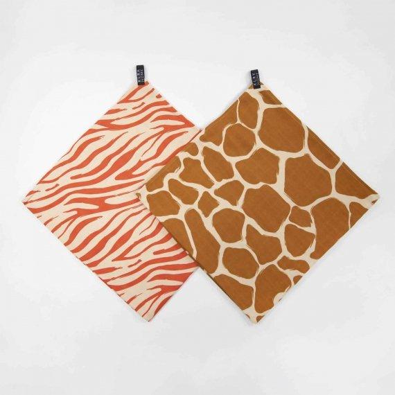 Látkové plenky - Mušelínové plenky velké WILD COLOR Zebra&Giraffe, 2 ks - KLRK-SWDLR-CLRZG-W